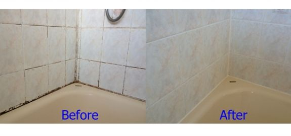 Before and After Bath sealing Rental Property Wollaton